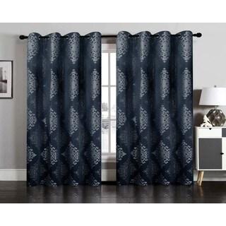 Nadia Jacquard Window Curtain Grommet Panel Pair
