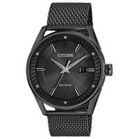 Citizen Men's  Eco-drive Black Stainless Steel Analog Watch