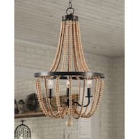 Mindy 3 Light Wood Bead Chandelier - Gold Bronze