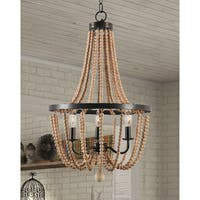 Design Craft Mindy 3 Light Wood Bead Chandelier - Gold Bronze
