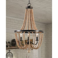 Mindy 3 Light Wood Bead Chandelier Gold Bronze