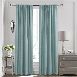 Solid Textured Thermal Blackout Backtab/Rod Pocket Curtain Panel Pair