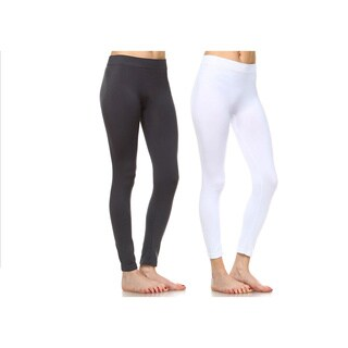White Mark Women's Solid Leggings (Pack of 2) (Option: One Size Fits Most)