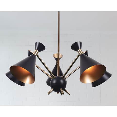 Draper 5-light Chandelier - Matte Black with Antique Brass