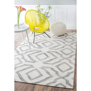 nuLOOM Contemporary Handmade Abstract Wool Light Grey Rug (8'6 x 11'6) (As Is Item)