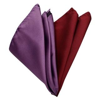 Dmitry Men's Italian Lavender/Burgundy Silk Pocket Squares (Set of 2)