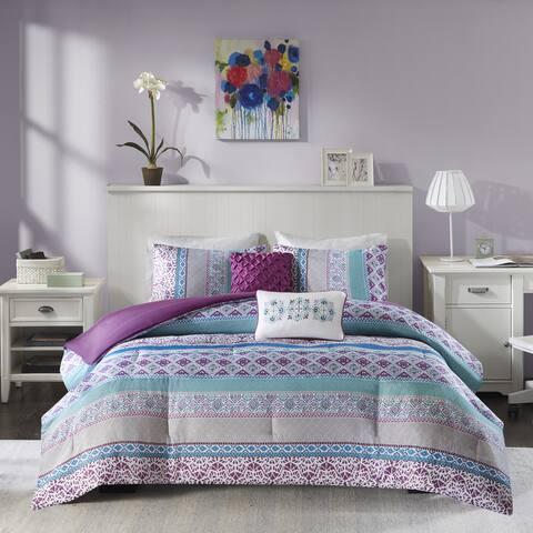 Adley Purple Printed Comforter Set by Intelligent Design