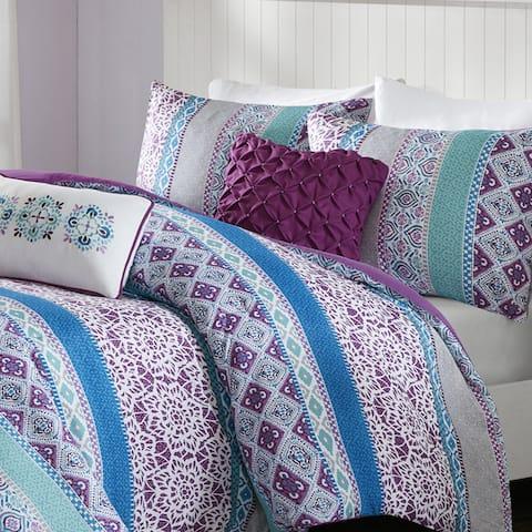 Intelligent Design Adley Purple Printed 5-piece Comforter Set