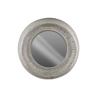 Urban Trends Collection Electroplated Silver Metal Round Wall Mirror