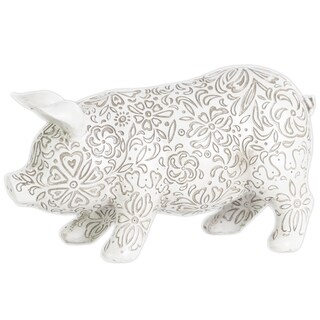 Urban Trends Collection Matte White Resin Large Standing Pig Figurine