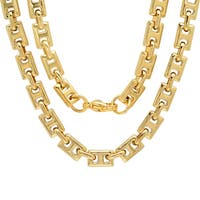 Steeltime Men's Gold Tone Square Link Chain