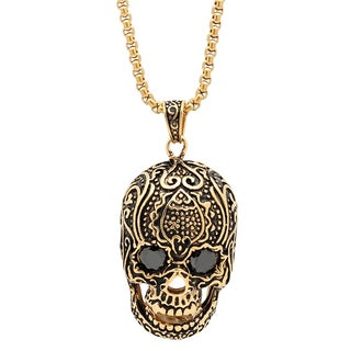 Steeltime Men's Gold Tone Skull Pendant with Cubic Zirconia