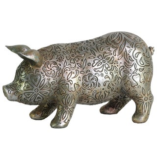 Urban Trends Collection Metallic Silver Resin Engraved Floral Design Standing Large Pig Figurine