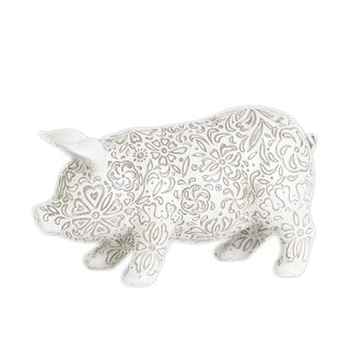 Urban Trends Collection Matte White Resin Standing Pig Figurine