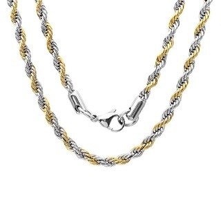 Men's 18k Goldplated Stainless Steel Two-tone Rope Chain Necklace