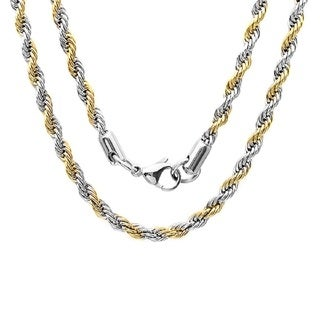 Steeltime Men's Two-tone Stainless Steel Rope Chain Necklace