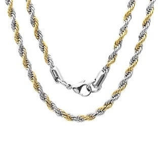 Link to Steeltime Men's Two-tone Stainless Steel Rope Chain Necklace Similar Items in Men's Jewelry