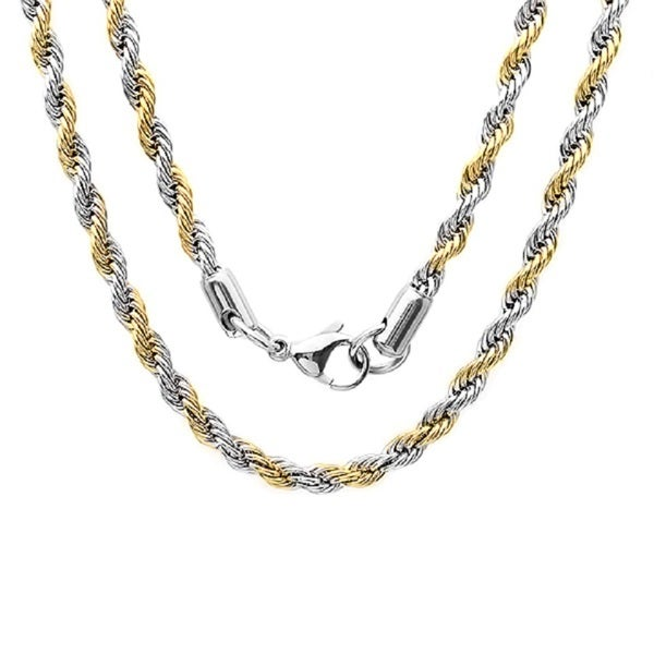 9074567d0555 Shop Steeltime Men s Two-tone Stainless Steel Rope Chain Necklace ...