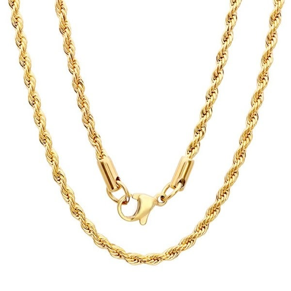 bf56a0d1cdec Shop Steeltime Men s Gold Tone Rope Chain Necklace - On Sale - Free ...