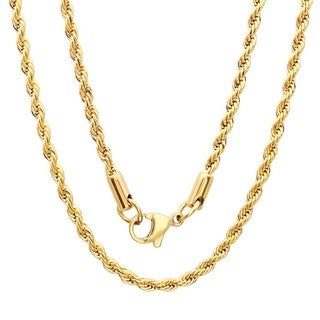 Steeltime Men's Gold Tone Rope Chain Necklace (3 options available)