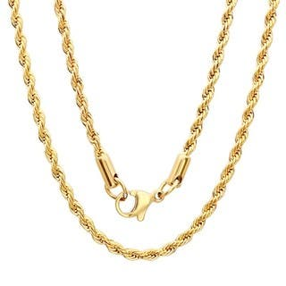 Mens necklaces for less overstock steeltime mens gold tone rope chain necklace aloadofball Images