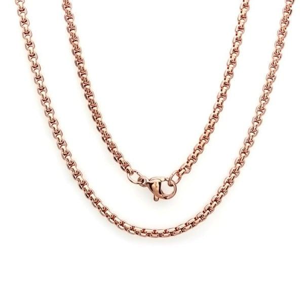 Steeltime Men's Rose Gold Tone Coreana Chain Necklace