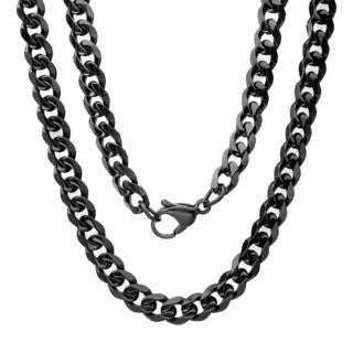 Black IP Curb Chain Necklace