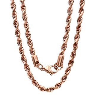 Men's Thick 18k Rose Gold Plated Rope Chain Necklace
