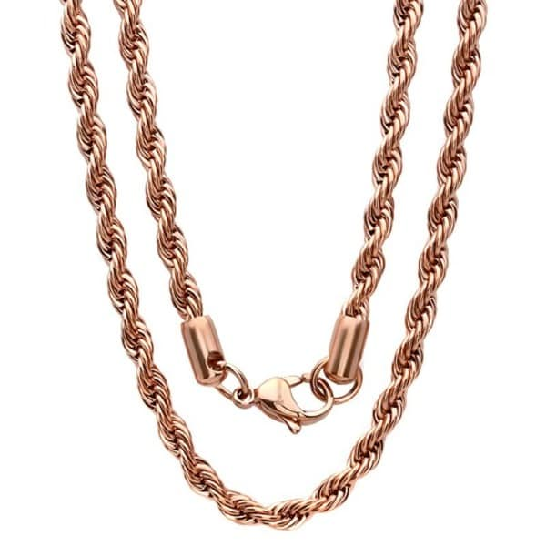 Steeltime Men's Thick Rose Gold Tone Rope Chain