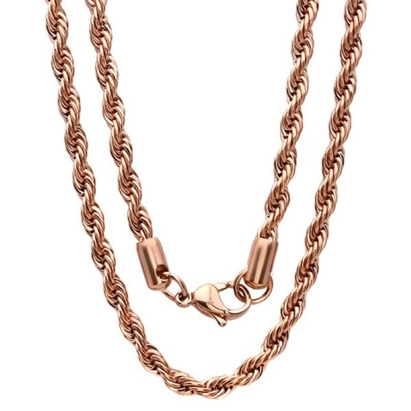 men u0026 39 s thick 18k rose gold plated rope chain necklace