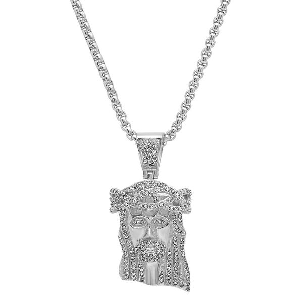 Stainless Steel and Cubic Zirconia Jesus Head Pendant