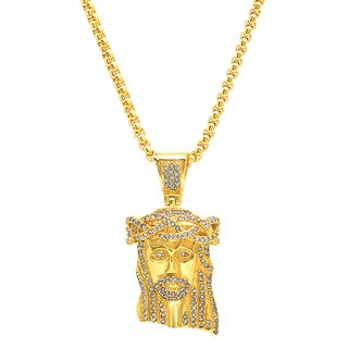 Steeltime Men's Gold Tone Cubic Zirconia Jesus Head Pendant Necklace