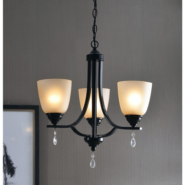 Design Craft Oak Blackened Oil Rubbed Bronze 3-light Chandelier