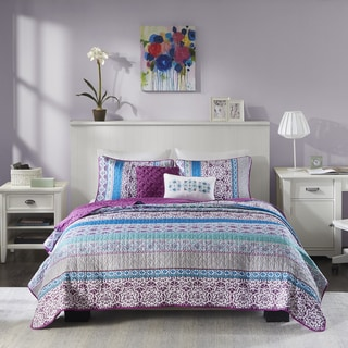 Intelligent Design Adley Purple 5-piece Coverlet Set