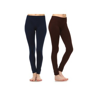 White Mark Women's Solid Leggings (Set of 2)