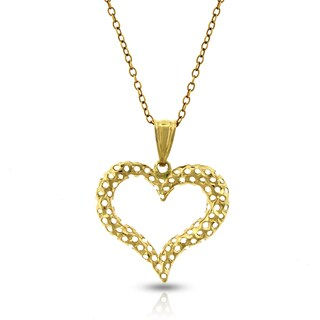14k Yellow Gold Women's Heart Diamond-cut Pendant Charm and Necklace