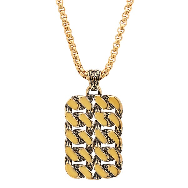 Steeltime Men's Gold Tone Braided Dog Tag Pendant