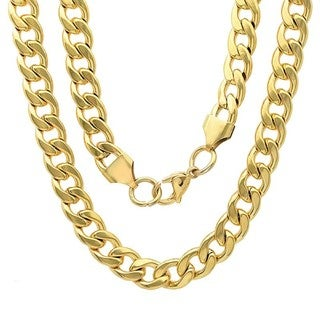Steeltime Men's Gold Tone Cuban Chain