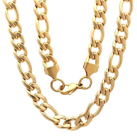 Steeltime Men's Gold Tone Figaro Chain Necklace