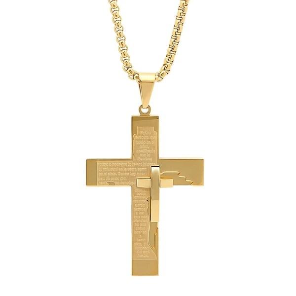 Men's Steeltime Gold Tone Prayer Cross Pendant
