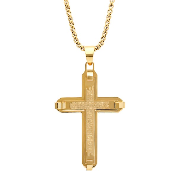 Fine Jewelry Steeltime Mens 18K Gold over Stainless Steel Cruifix Cross Pendant Necklace ewxwKmW