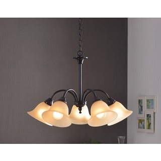 Design Craft Lily Blackened Oil Rubbed Bronze 5-light Chandelier
