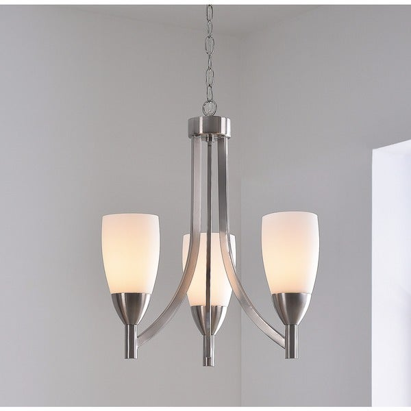 Torch Brushed Steel 3-light Chandelier