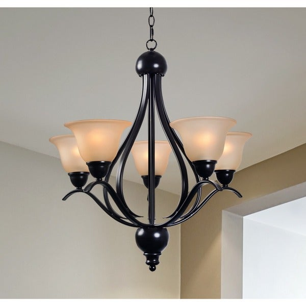 Design Craft Amanda Blackened Bronze 5-light Chandelier