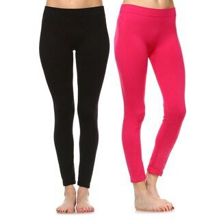 White Mark Women's Solid Leggings 2-pack