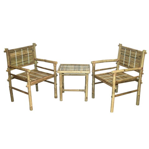 Handmade 3-piece Natural Bamboo Chairs and Table Set (Vietnam)