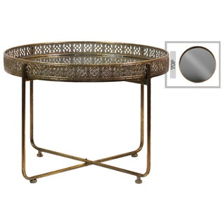 Antique Gold Round Cocktail Table