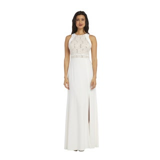 Nightway 1224 White Glitter Lace Gown