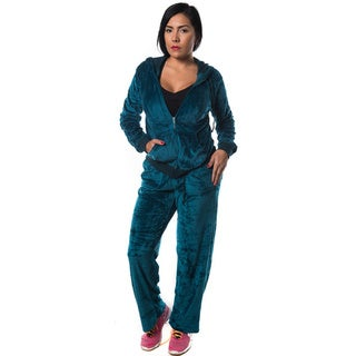 Women's Crushed Velvet Cotton-blend Sweatpants Set with Zippered Hoodie
