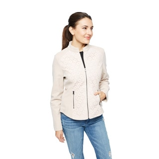 Live A Little Women's Blush Patent Leather Zip and Lace-front Detail Jacket